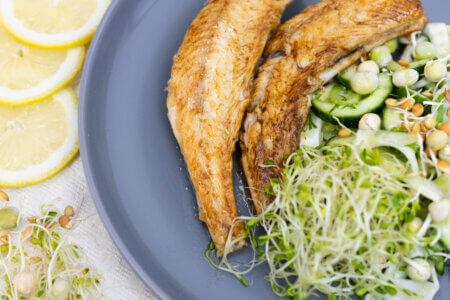 Silmusalaatti resepti - Pannuahvenet ja Rouskuva fenkoli-kurkkusalaatti