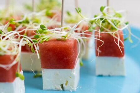 Silmusalaatti resepti - Feta-vesimeloni-cocktailpalat