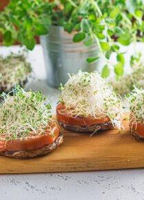 portobellot tomaatilla ja versoilla annoksina leikkuulaudan päällä